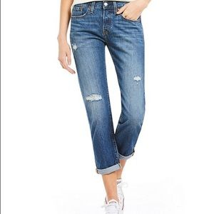 Levi 501 distressed cuffed button fly jeans